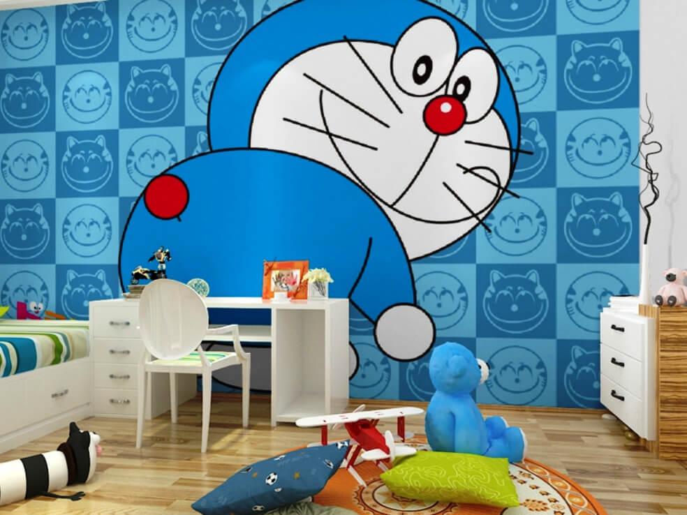 Trang trí phòng trọ sử dụng giấy dán tường hình nhân vật hoạt hình