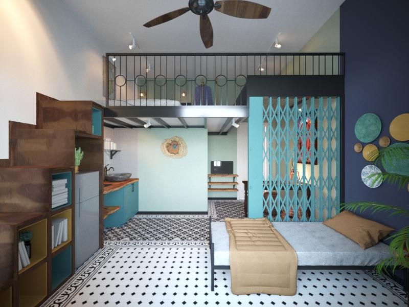 Tận dụng cầu thang để sắp xếp các vật dụng giúp phòng trọ rộng rãi hơn